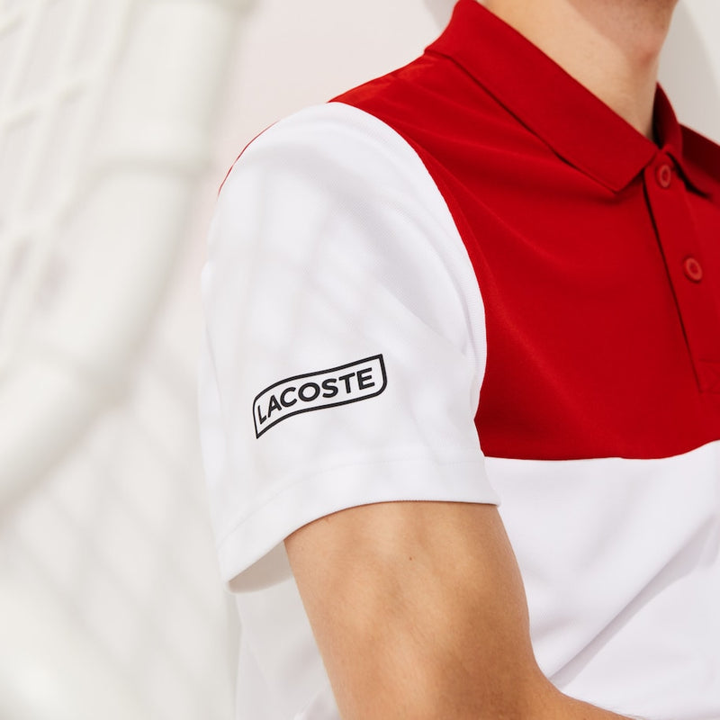 Lacoste Sport Colourblock Breathable Piqué Tennis Polo (Men's) - Red/White/Blue/Black
