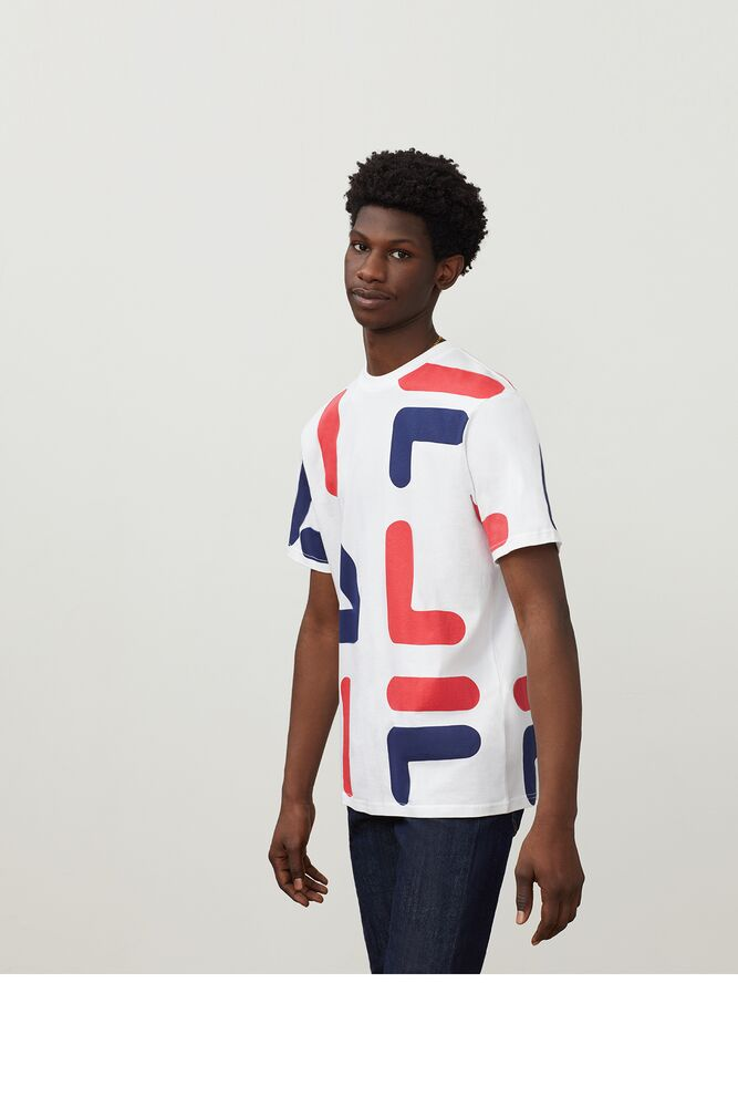 Fila Bennet Tee (Men's) - White/Red/Peacoat