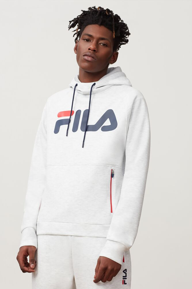 Fila Ezra Tech Hoodie (Men's) - Light Grey Heather/Peacoat/Red