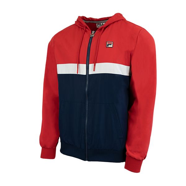 Fila Ambrose Hooded Wind Jacket (Men's) - Red/Navy/White
