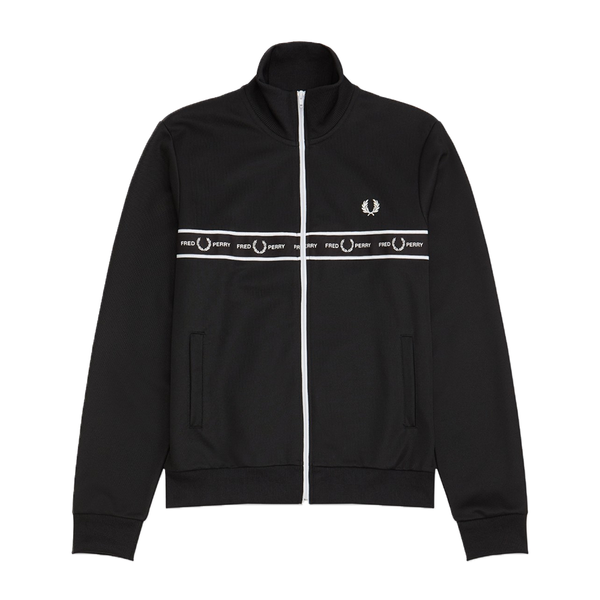 Fred Perry Taped Chest Track Jacket (Men's) - Black-Tops-online tennis store canada