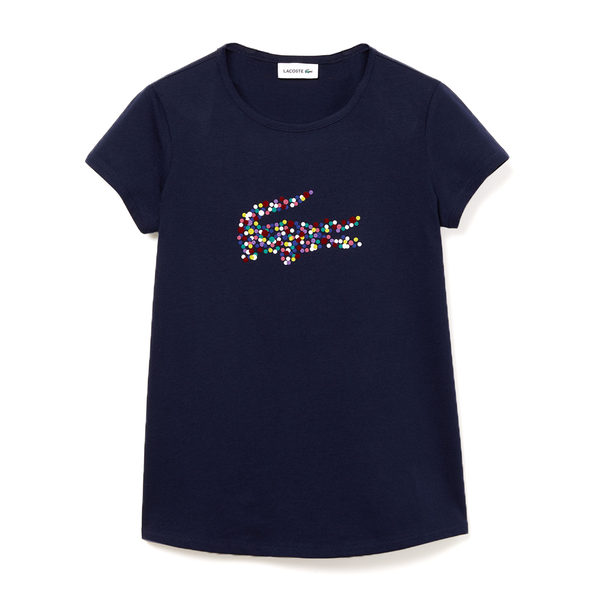 Lacoste Polka Dot Print Crocodile Cotton T-shirt (Girls') - Navy Blue-Tops-online tennis store canada