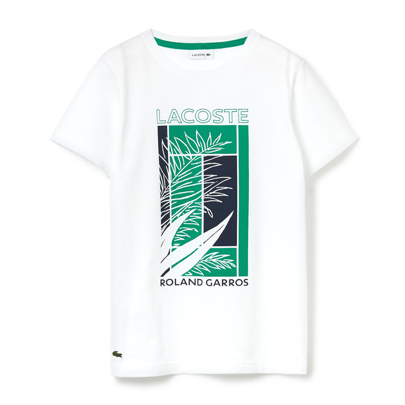 Lacoste Sport Roland Garros Print Tennis T-Shirt (Men's) - White/Green/Navy