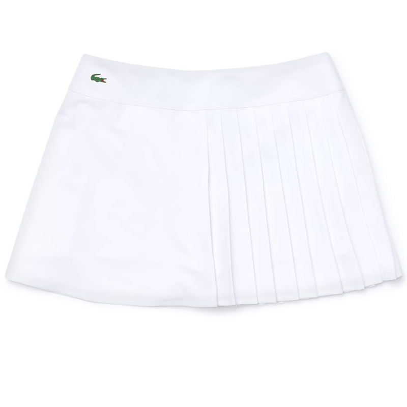 Lacoste Sport Asymmetrical Pleated Tennis Skirt (Women's) - White