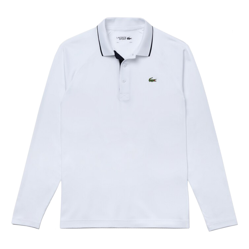 Lacoste Sport Breathable Long Sleeve Polo Shirt (Men's) - White/Navy Blue