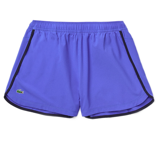 Lacoste Sport Stretch Breathable Light Tennis Shorts (Women's) - Blue/Navy Blue/Yellow