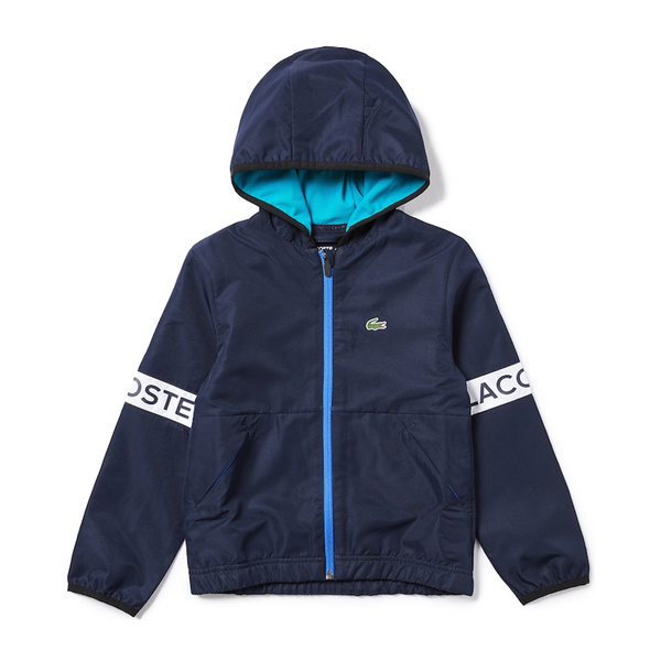 Lacoste Sport Water-Resistant Zip Jacket(Boy's) - Navy Blue/Turquoise/White