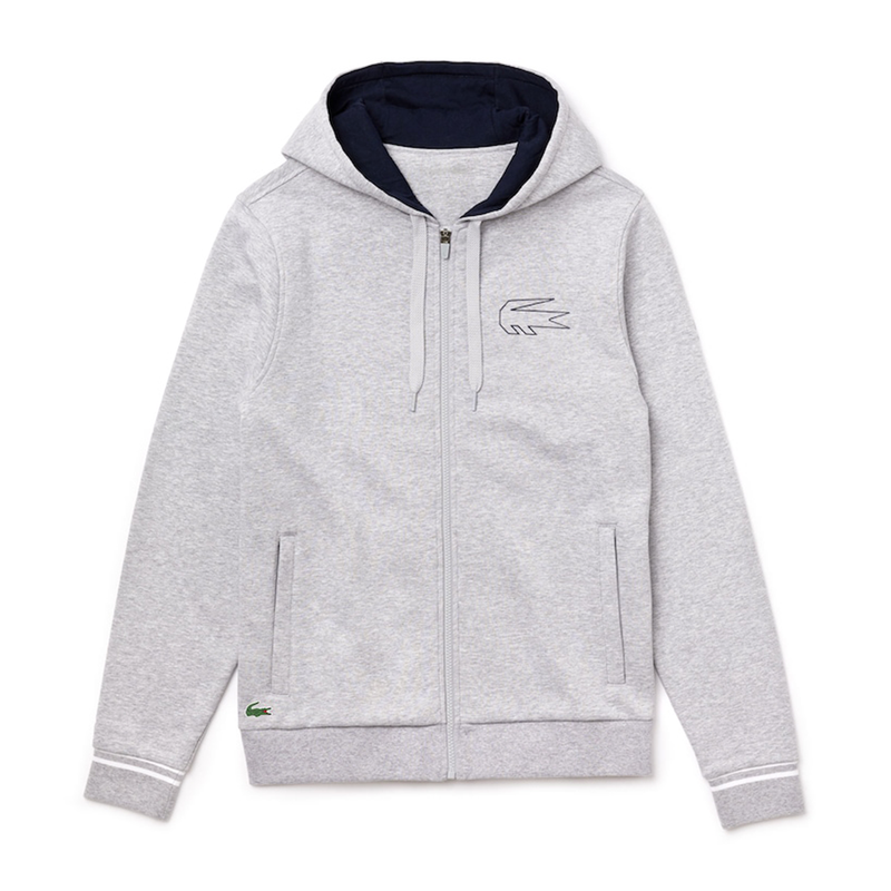 Lacoste Sport x Novak Djokovic Zippered Hoody Sweatshirt (Men's) - Grey Chine/Navy Blue