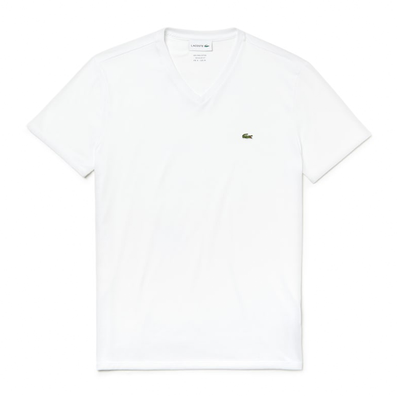 Lacoste V-Neck Pima Cotton T-shirt (Men's) - White