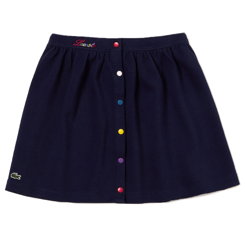Lacoste Colored Snap Cotton Piqué Skater Skirt (Girls') - Navy Blue-Bottoms-online tennis store canada