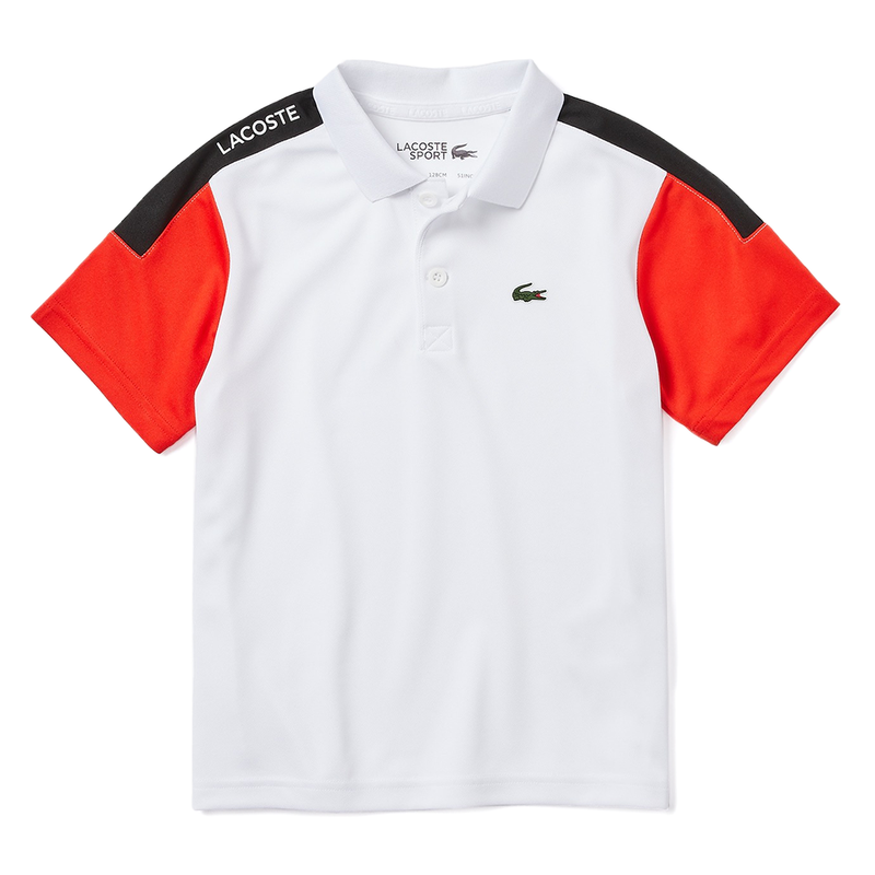 Lacoste SPORT Breathable, Run Resistant Tennis Polo (Boy's) - White/Red/Black