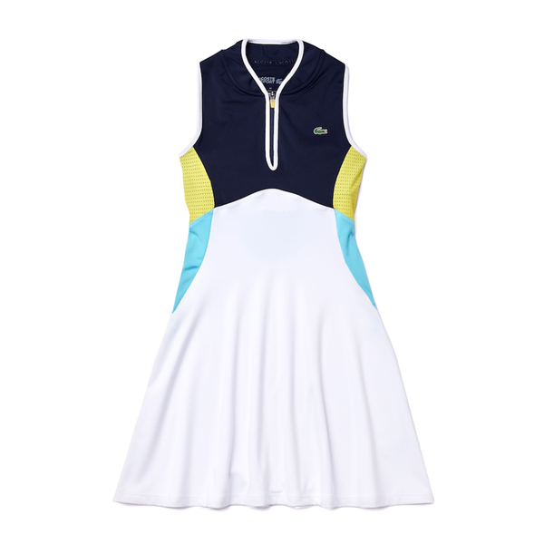 Lacoste Sport Breathable Stretch Tank Top Tennis Dress (Women's) - White/Navy Blue/Turquoise/Yellow