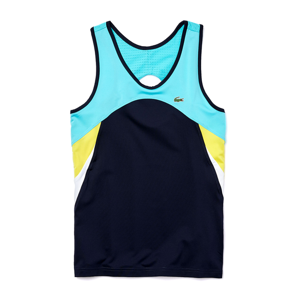Lacoste SPORT Breathable Stretch Tennis Tank Top (Women's) - Navy Blue/Turquoise/Yellow/White
