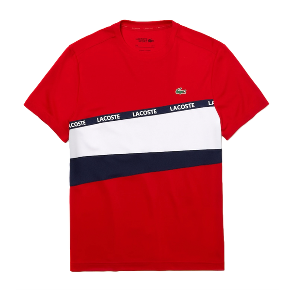 Lacoste SPORT Color-Block Piqué T-shirt (Men's) - Red/White/Navy Blue-Tops-online tennis store canada