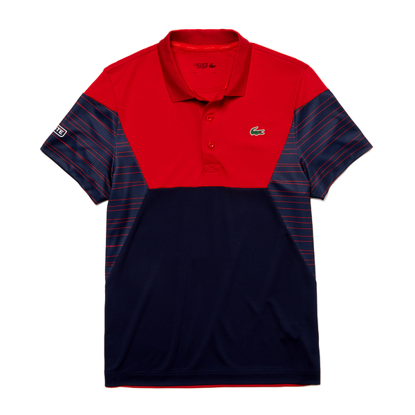 Lacoste SPORT Color-Blocked Breathable Piqué Tennis Polo (Men's) - Red/Navy Blue/White-Tops-online tennis store canada