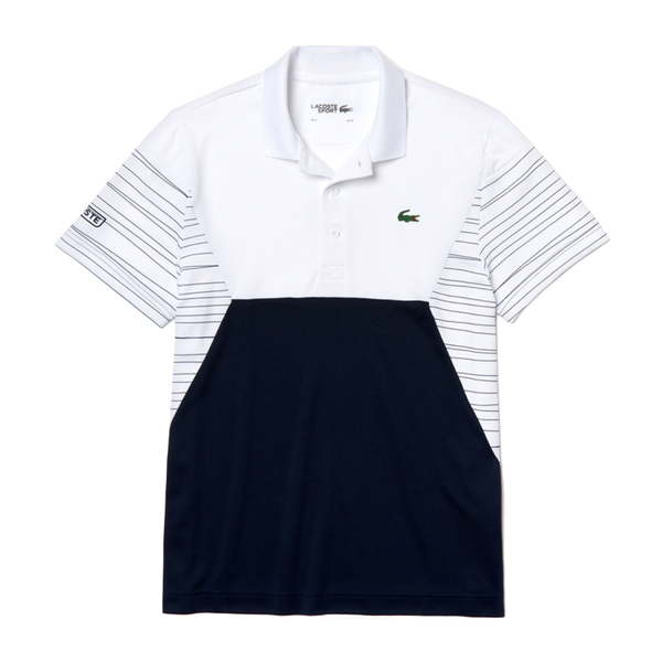Lacoste SPORT Color-Blocked Breathable Piqué Tennis Polo (Men's) - White/Navy Blue/White-Tops-online tennis store canada