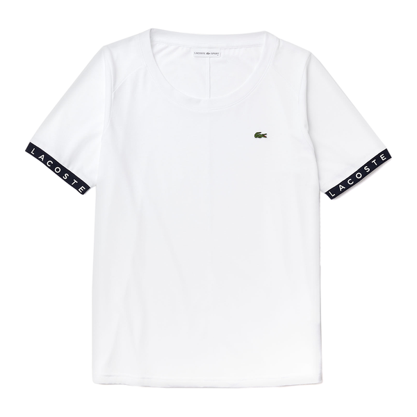 Lacoste Sport Flowing Lettered Sleeve Tennis T-shirt (Women's) - White/Navy