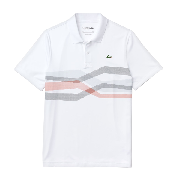 Lacoste Sport Graphic Breathable Polo (Men's) - White/Navy/Grey/Red
