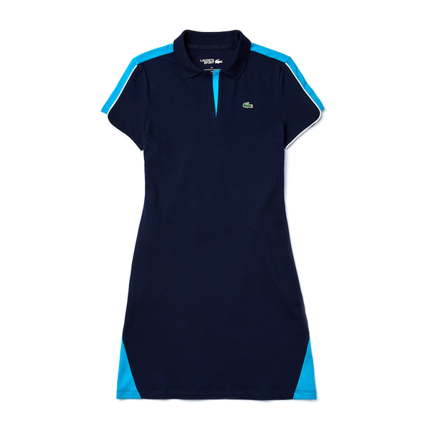 Lacoste Sport Stretch Cotton Piqué Golf Polo Dress (Women's) - Navy Blue/Turquoise/White