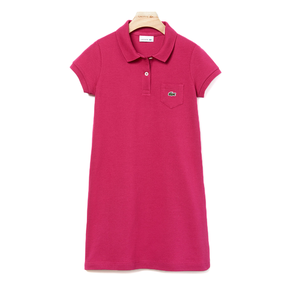 Lacoste Solid Petit Piqué Cotton Flared Dress (Girl's) - Fushia Pink-Dresses-online tennis store canada