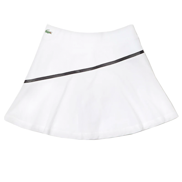 Lacoste Sport Built-In Shorts Tennis Skirt (Women's) - White/Black-Bottoms-online tennis store canada