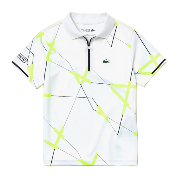 Lacoste Sport Geometric Print Pique Tennis Polo (Boy's) - White/Black/Flash Yellow-Tops-online tennis store canada