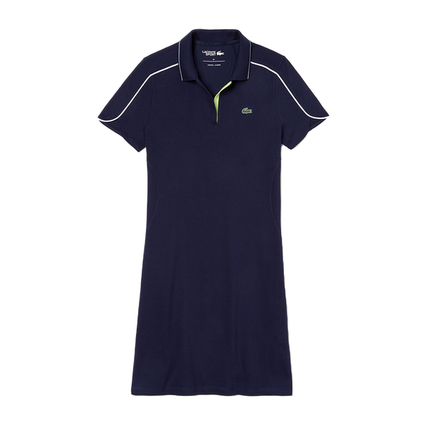 Lacoste SPORT Stretch Cotton Polo Dress (Women's) - Navy/Flashy Yellow/White-Tops-online tennis store canada
