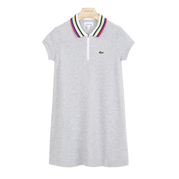 Lacoste Zip Neck Cotton Piqué Polo Dress (Girl's) - Grey Chine-Dresses-online tennis store canada