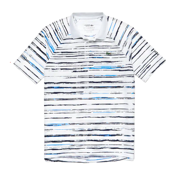 Lacoste SPORT Novak Djokovic Striped Jersey Polo (Men's) - White/Navy Blue/Blue-Tops- Canada Online Tennis Store Shop