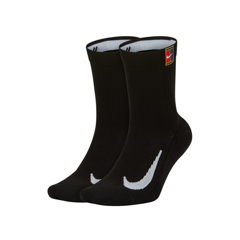 Nike Court Multiplier Heritage Tennis Crew Socks (2 Pack) - Black