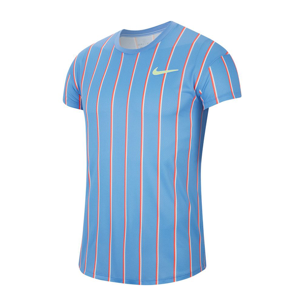 Nike Court Slam Short-Sleeve Tennis Top (Men's) - Royal Pulse/Ghost Green