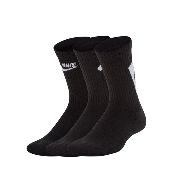 Nike Everyday Cushioned Crew Socks 3-Pack (Junior) - Black/White