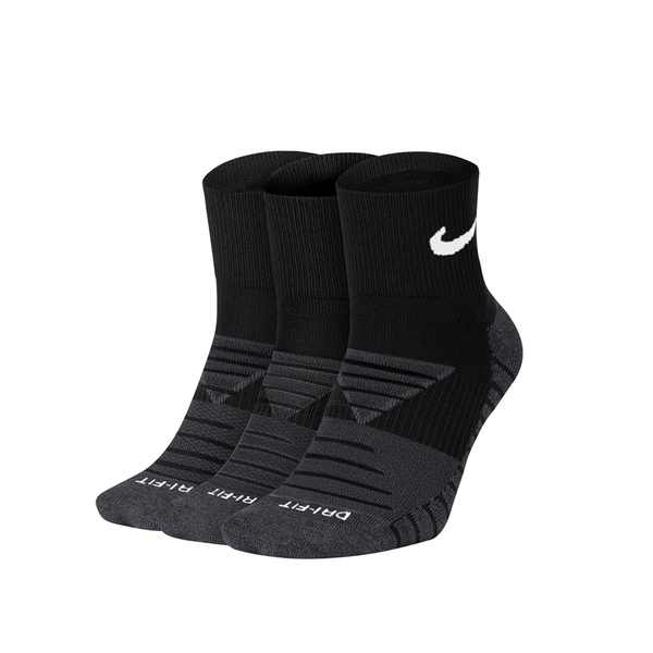 Nike Everyday Max Cushioned Ankle Tennis Socks - Black/Anthracite Grey/White