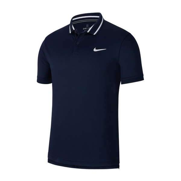 Nike Court Dri-Fit Polo (Men's) - Obsidian/White/White