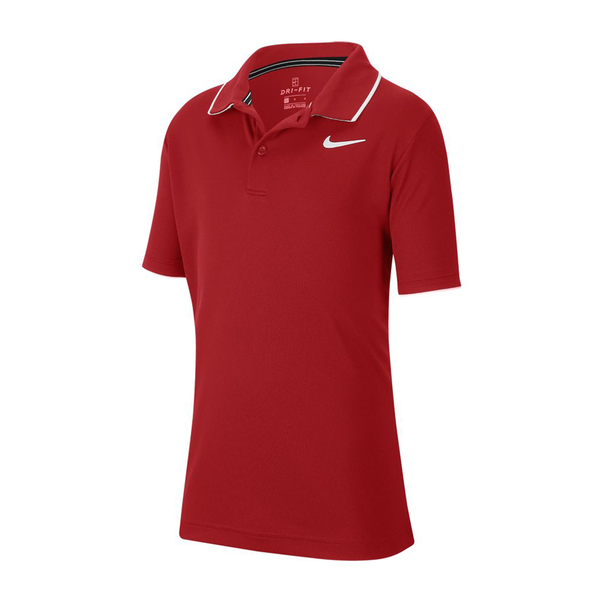 Nike Court Dri-Fit Tennis Polo (Boy's) - Gym Red/White