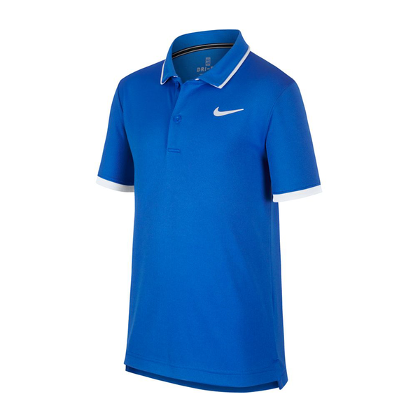 Nike Court Dri-Fit Tennis Polo (Boy's) - Signal Blue/White