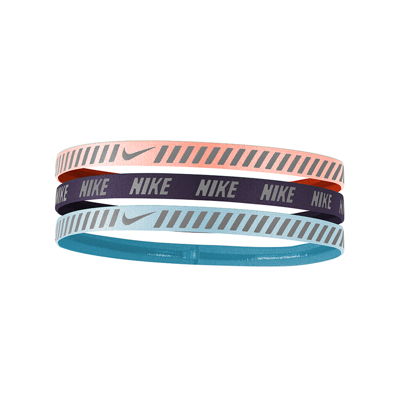 Nike Reflective Hazard Stripe Headbands (3 Pack) - Pink/Purple/Aqua-Headbands-online tennis store canada