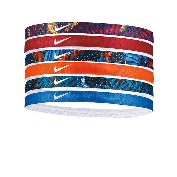 Nike Printed Headbands Assorted (6 pack) - Bordeaux/Orange/Royal Blue Florals-Headbands-online tennis store canada