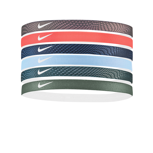 Nike Printed Headbands Assorted (6 pack) - Grey/Peach/Blue/Sage-Headbands-online tennis store canada