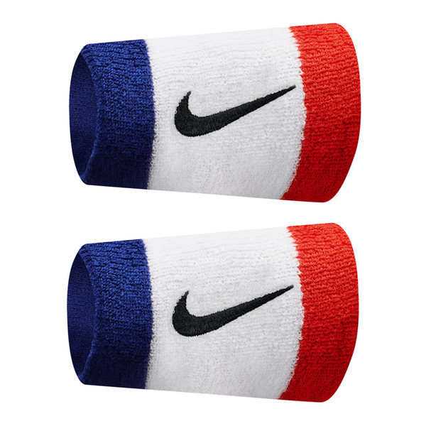 Nike Swoosh Wristbands Doublewide - Habanero Red/White/Blue/Black