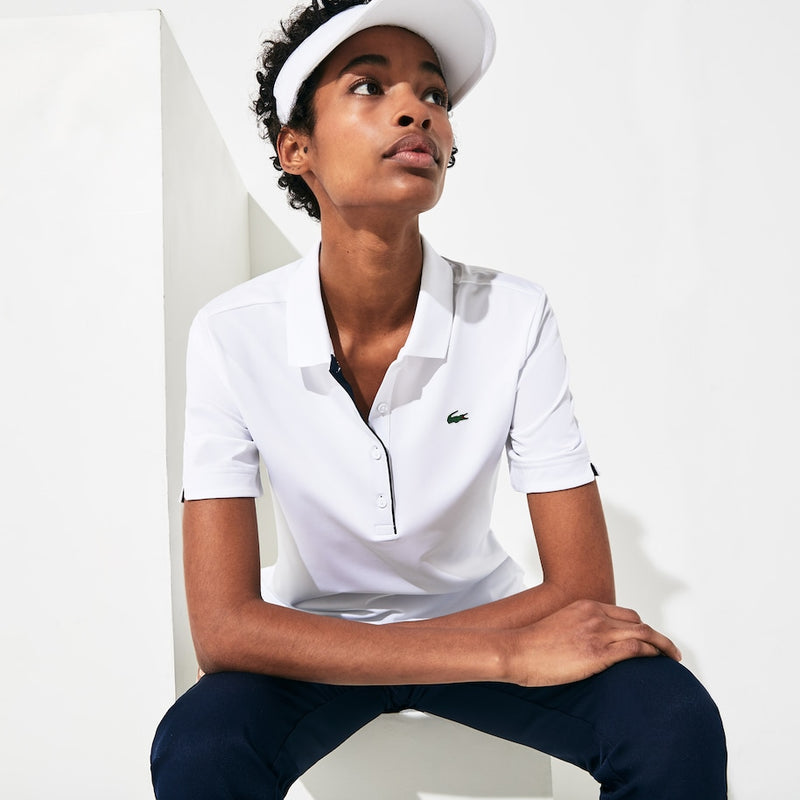 Lacoste Sport Breathable Stretch Polo Shirt (Women's) - White/Navy Blue