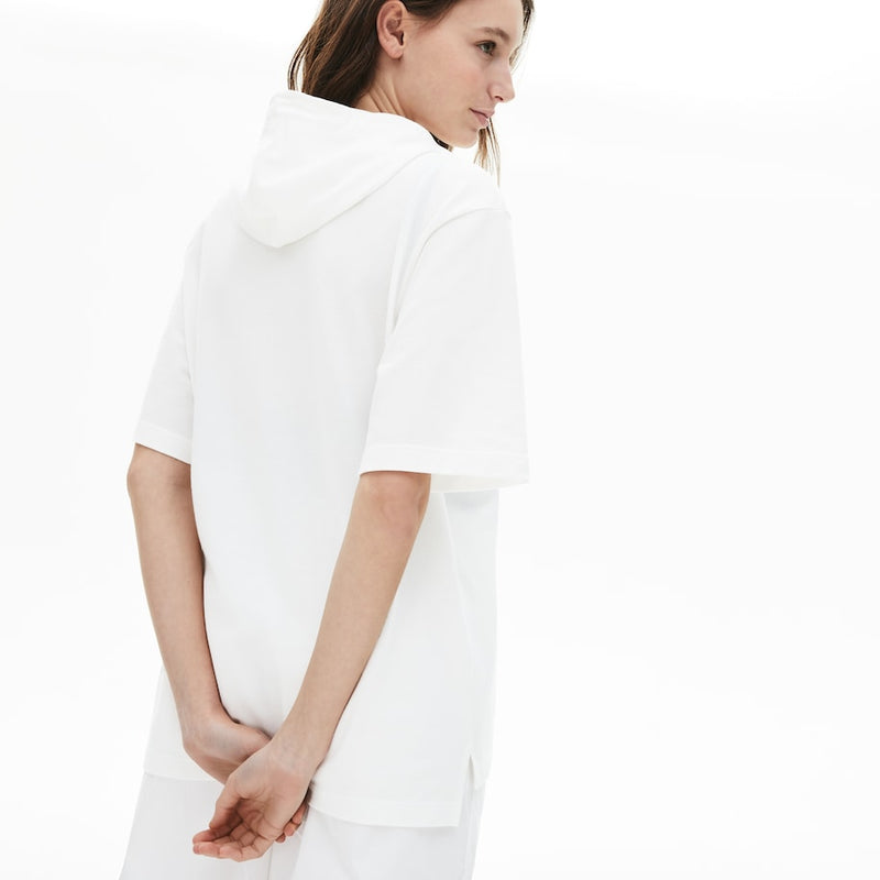 Lacoste Solid Cotton Piqué Hooded Polo Shirt (Women's) - White