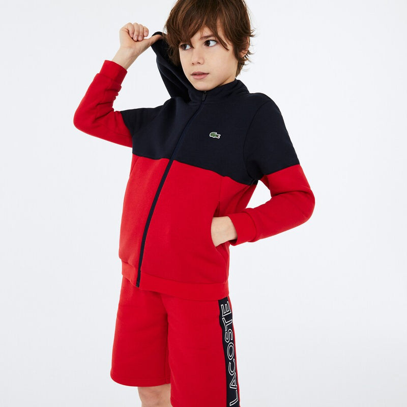 Lacoste Sport Colourblock Fleece Zip Jacket (Boy's) - Navy Blue/Red/White