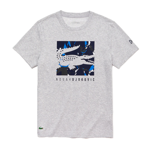 Lacoste SPORT Novak Djokovic Camouflage Croc Logo T-Shirt (Men's) - Grey Chine/Navy Blue/White/Black-Tops- Canada Online Tennis Store Shop