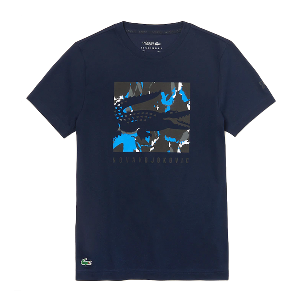 Lacoste SPORT Novak Djokovic Camouflage Croc Logo T-Shirt (Men's) - Navy Blue/Black/White-Tops- Canada Online Tennis Store Shop