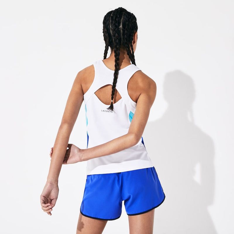 Lacoste Sport Breathable Stretch Tennis Tank Top (Women's) - White/Turquoise/Navy Blue