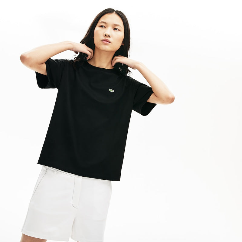 Lacoste Premium Cotton Crewneck T-Shirt (Women's) - Black
