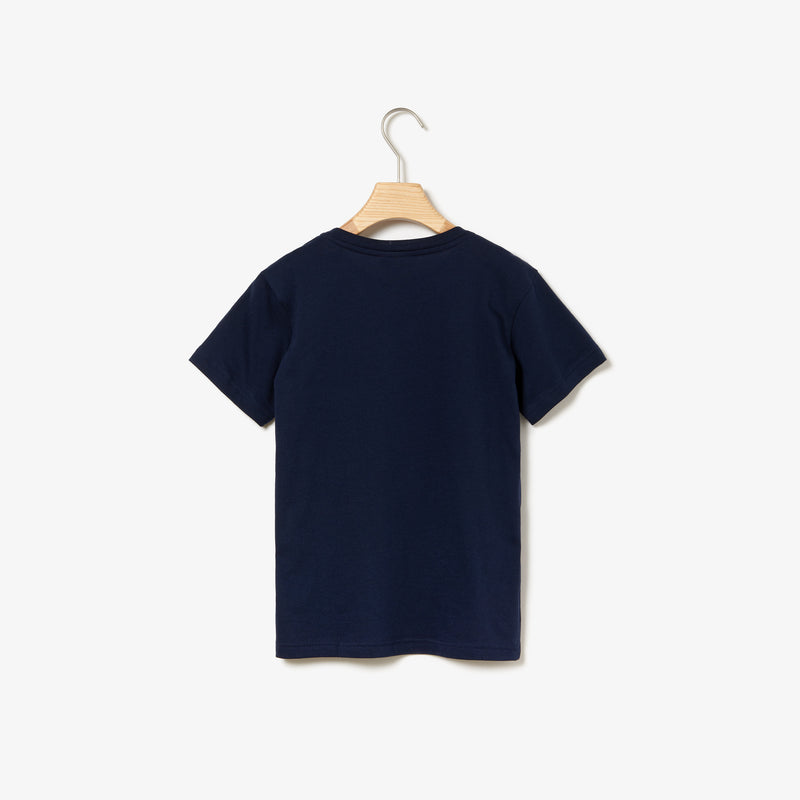 Lacoste Crew Neck Cotton T-shirt (Boy's) - Navy Blue-Tops-online tennis store canada