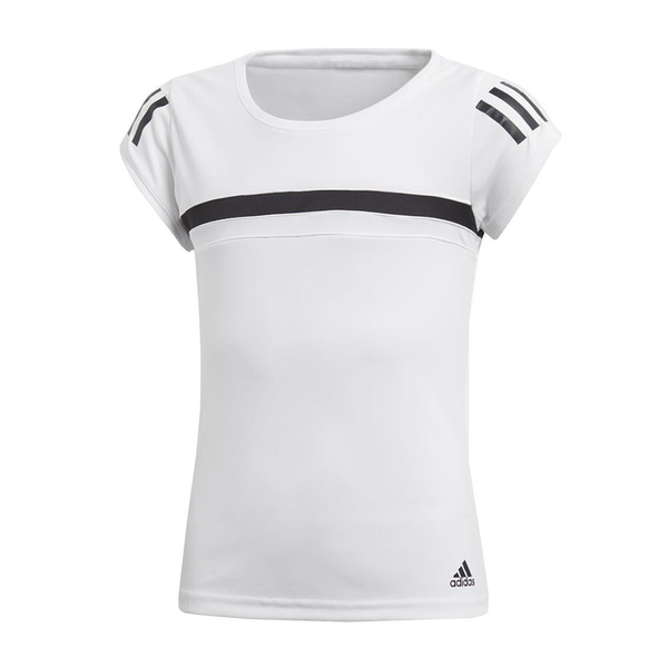 Adidas 3-Stripes Club Tee (Girl's) - White/Black-Tops- Canada Online Tennis Store Shop