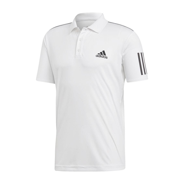 Adidas Club 3 Stripe Polo (Men's) - White/Black-Tops- Canada Online Tennis Store Shop